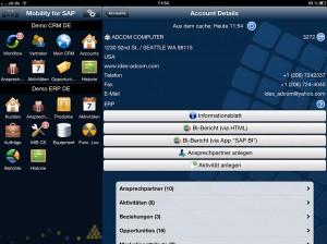 ISEC7 Mobility for SAP CRM macht Kundendaten und Aufgaben aus SAP CRM auf Mobilgeräten verfügbar. (Quelle: ISEC7)