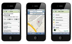 Die Mobilkomponente von Sage CRM zeigt Verkaufschancen sowie den Standort des Kunden in Google Maps an. (Quelle: Sage)