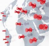 Weltkarte mit Pinn
