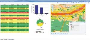 Dieser Screenshot zeigt die Verteilung der Wohnstandorte in einem Gebiet potenzieller Überschwemmungen. Die Versicherungen nutzen derartige Daten für die Berechnung der Prämien von Hausrats- und Gebäudeversicherungen. (Quelle: geoXtend GmbH)