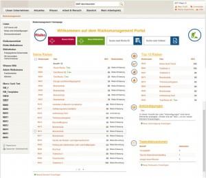 Das Dashboard des QM- & Risikomanagement-Portal von Alegri zeigt Risikokennzahlen sowie Maßnahmenabdeckung bei den Top-Risiken je nach Klinik oder Fachbereich. Quelle: Alegri