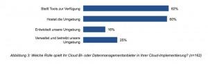 Fast zwei Drittel der in der Studie befragten Unternehme setzen beim Hosting auf den Anbieter ihrer Cloud BI-Lösung. Ein Viertel lässt die Anwendung extern betreiben und verwalten. Quelle: BARC